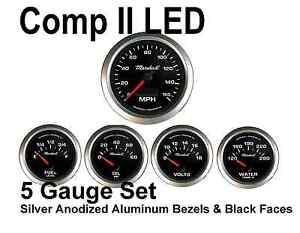 Marshall Comp2 Performance Auto Gauge Meters Black Silver Rings Made In Usa