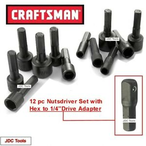 Craftsman 12 Pc Magnetic Handle Nut Driver Set W Hex To 1 4 Socket Adapter