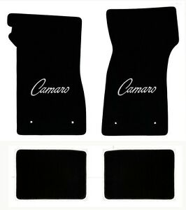 New 1967 1969 Camaro Floor Mats Black Set Of 4 Carpet Embroidered Siver Script