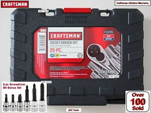 Craftsman 25 Pc Piece 3 8 1 4 Drive Socket Wrench Set Sae And Metric 9 10295