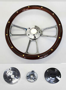 65 1969 Ford Mustang Steering Wheel Mahogany Wood W rivets And Billet Spokes 14