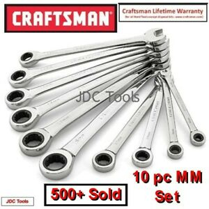 Craftsman 10 Pc Polished Combination Ratcheting Wrench Set All Metric 6mm 18mm