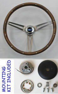 49 56 Ford Ranch Wagon Skyliner Grant Walnut Wood Steering Wheel 15 Ss Spokes