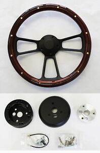 1964 65 66 Buick Skylark Gran Sport Mahogany Wood And Black Steering Wheel 14