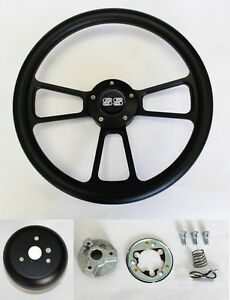 Chevelle Nova Camaro Impala 14 Steering Wheel Black On Black Ss Center Cap