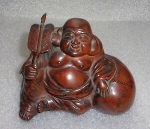 Fine Old Japanese Cast Metal Buddha With Bronzed Patina