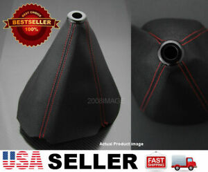 Red 4 Seams Leather Black Shifter Shift Gear Knob Boot For Bmw Audi usa Shipped