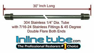 1 4 Brake Line 30 Inch Stainless Steel 7 16 24 Tube Nuts 45 Degree Double Flare