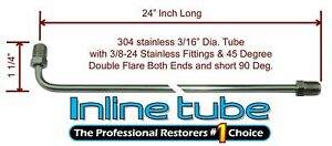 3 16 Brake Line 24 Inch Stainless Steel 90 Degree Bend Flared 3 8 24 Tube Nuts