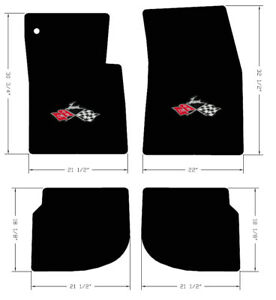 New 1961 1964 Black Floor Mats Impala Cross Flags Embroidered Logo Set Of 4