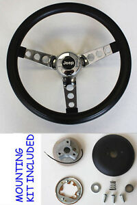 1976 1995 Jeep Cj5 Cj7 Yj Classic Grant Black Steering Wheel 13 1 2 Horn Kit