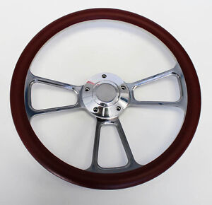 67 68 Pontiac Gto Firebird Steering Wheel Burgundy And Billet 14 Shallow Dish