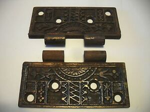 2 Vintage Victorian Ornate Brass Plated Steel Door Butt Hinge Halfs 4 1 2