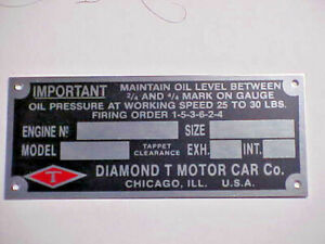 Diamond T Data Plate 2 To Choose From 1930s 1950s