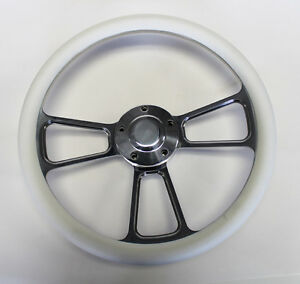 New Nova Chevelle Steering Wheel White Grip 14 Shallow Dish Billet Polished