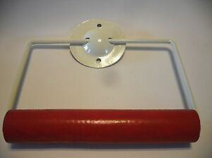 Vintage Nos Antique White Steel Toilet Paper Tissue Holder Red Wooden Roller