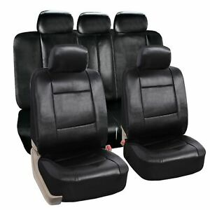 Zone Tech Luxury Universal Fit Interior Decor Pu Leather Car Seat Covers Black