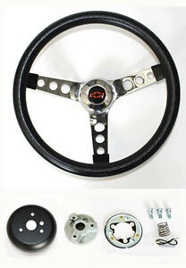 Chevy Pick Up Blazer Grant Black Steering Wheel 13 1 2 Red black Bowtie Cap