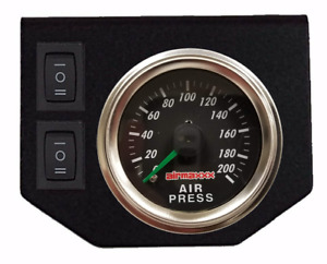 Air Ride Suspension Dual Needle Air Gauge Panel 200psi 2 Rocker Switch Control