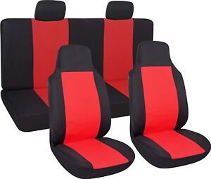 Zone Tech Red Black 7 Piece Cloth Car Seat Covers Full Set Universal High Back