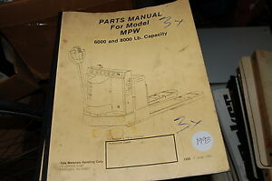 Yale Model Mpw 6000 8000 Lbs Forklift Parts Manual Book Catalog List Spare 1993