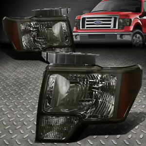For 2009 2014 Ford F150 Pickup Pair Smoked Housing Amber Side Headlight lamp Set