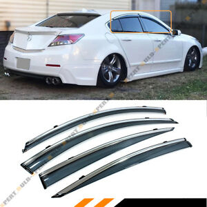 For 09 14 Acura Tl Clip On Smoke Tinted Luxury Side Window Visor W Chrome Trim