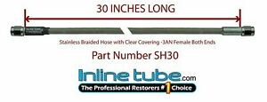 Stainless Steel Braided Brake Hose Line 3an Straight 30 Long Clear Coat Cover