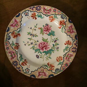 Antique 19th C English Spode Pearlware Plate Chinese Famille Rose Peony 1820