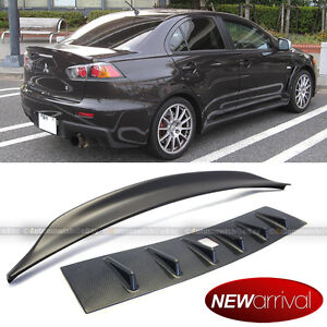 For 08 15 Lancer Carbon Painted Vortex Generator Roof Wing Trunk Spoiler Combo