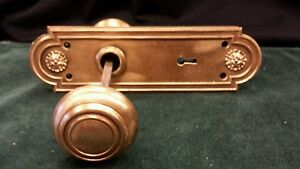 Vintage Brass Bronze Decorative Door Knob Set Oval Backplates Spindle Russwin
