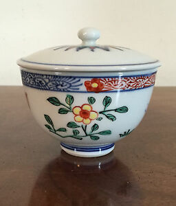 Chinese Porcelain Bowl Cover Butterfly Flower Japanese Asian Tea Cup Wucai