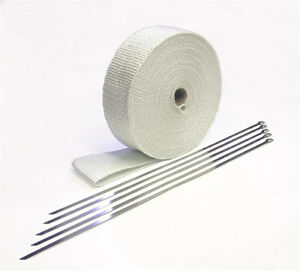 Header Wrap White fiberglass Heat Wrap 2 Wide X 50ft Free Metal Zip Ties