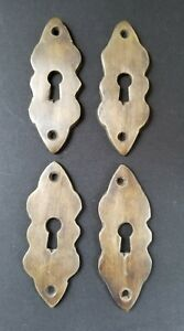 4 Vintage Antique Brass Escutcheons 2 3 4 Tall X 1 Wide Jewelry Component E3