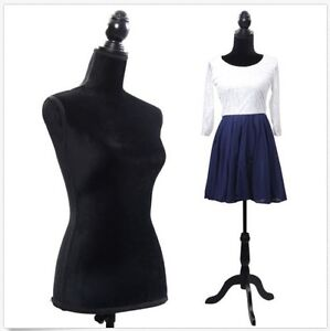 New Black Female Mannequin Torso Dress Form Clothing Display W Tripod Stand Base