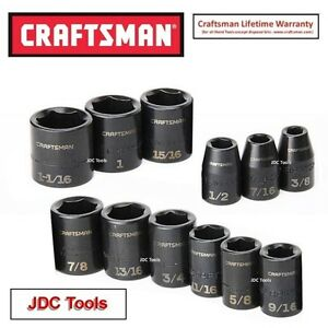 Craftsman Tools 12 Pc 1 2 Drive Sae Impact Socket Set Standard Depth 6 Pt New