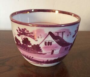 Antique 19th Century Staffordshire Pearlware Pink Luster Bute Tea Cup Lustre