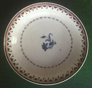 Antique 19th C Chinese Export Porcelain Plate Saucer American Federal Market