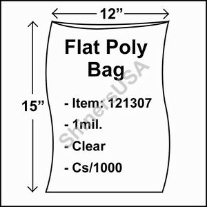 1000 1 mil 12x15 Clear Poly Bag Open Top Lay Flat Packaging 121307