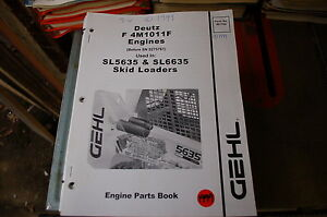 Gehl Sl5635 Sl6635 Skid Steer Loader Engine Parts Manual Book Catalog List Spare