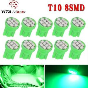 Yitamotor 10pcs Green T10 168 Wedge Led Dome License Interior Light Bulb W5w 192