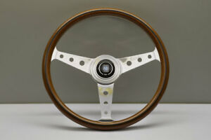Nardi Classic Wood Steering Wheel Polished Spokes Center Ring Round Holes 360mm