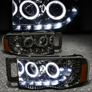 led Drl halo Rings For 2002 2005 Dodge Ram Smoked Amber Projector Headlights