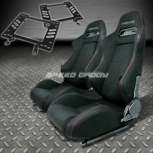 Pair Nrg Type r Style Black Cloth Racing Seat bracket For 79 98 Ford Mustang