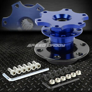 6 hole Steering Wheel 1 pull Ball Bearing 2 short Quick Release Hub Adapter Blue