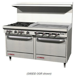 Southbend S60dd 2g 60 Gas Range W 6 Burners 24 Griddle And 2 Standard Ovens