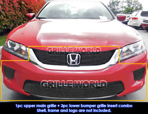 Fits 2013 2015 Honda Accord Coupe W Fog Light Cover Black Billet Grill Combo