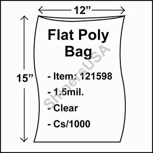 1000 1 5 mil 12x15 Clear Poly Bag Open Top Lay Flat Packaging 121598