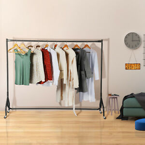 6ft Heavy Duty Clothes Rail Portable Dress Hanging Rack Retail Display Stand