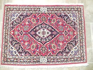 Signed 2x3 Persian Kashan Rug Lovely Home Dyed Wool Hand Knotted Rug